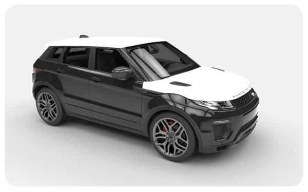 black gloss roof bonnet white wrap evoque