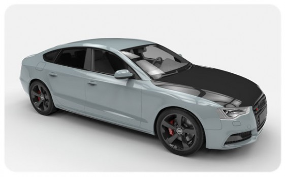 Nardo Grey Gloss Black Bonnet Wrap Audi S5