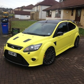 Yellow Ford Focus RS Gloss Car Wrap